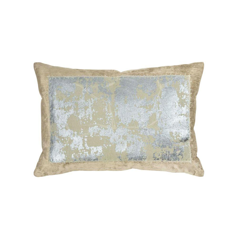 Distressed Metallic Lace Pillow - Linen / Silver