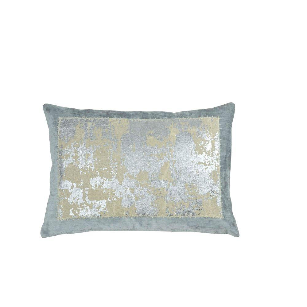 Distressed Metallic Lace Pillow - Seafoam / Silver