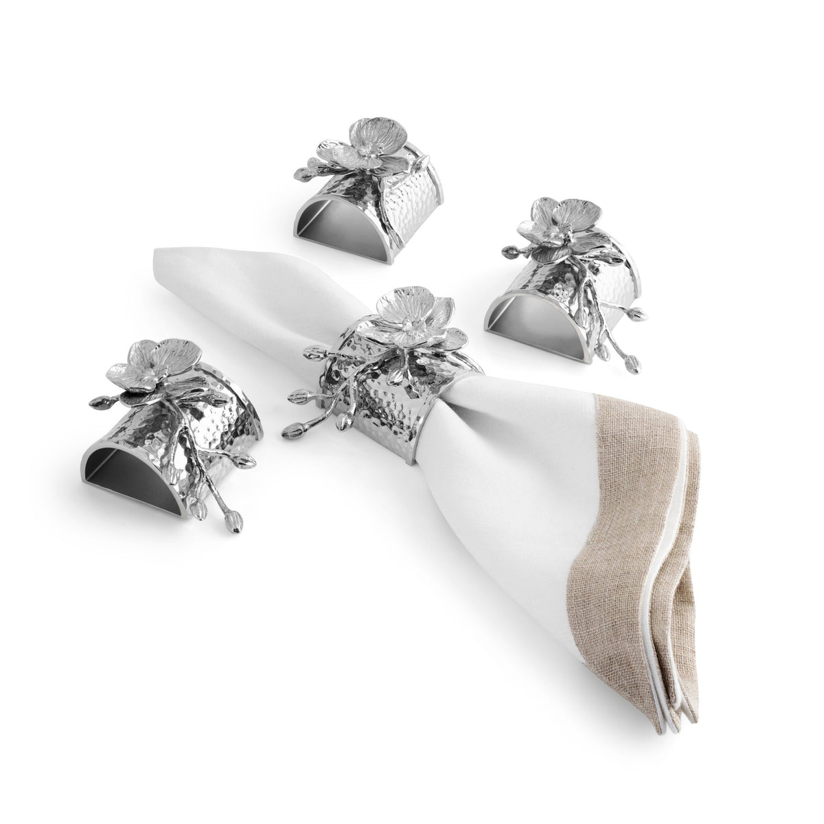 White Orchid Napkin Ring Set