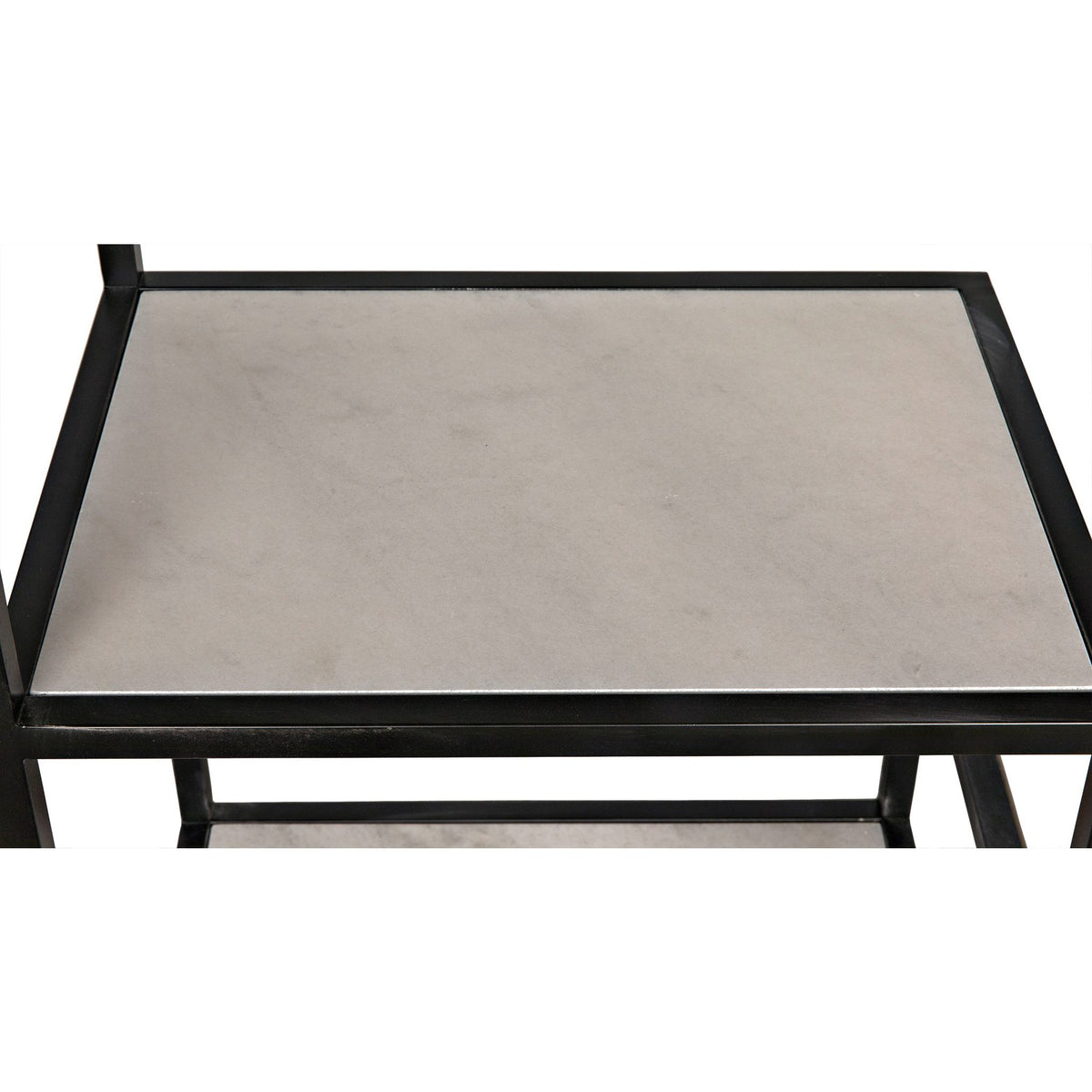 Haru Bookcase Large - Black Metal with White Stone