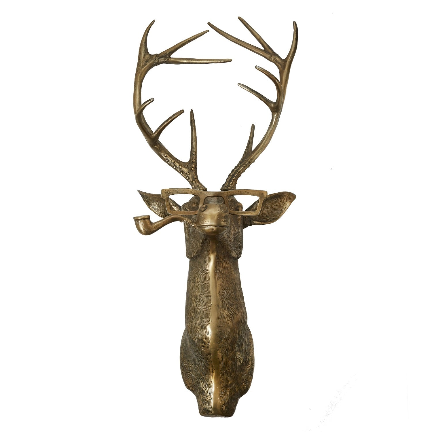 metal stag head in a brass finish smoking a pipe and wearing glasses