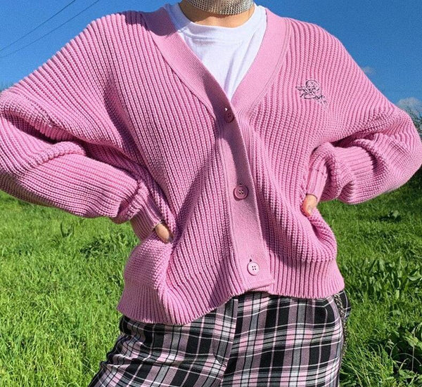 KLALIEN High Street Casual Office Lady Sweet Pink Cardigan Sweater Women Fashion Simple Letter College Style Cute Female Sweater