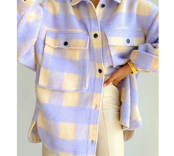Waatfaak Plaid Print Fleece Elegant Coat Winter Purple Pocket Patchwork Loose Long Sleeve Tweed Jacket Women Vintage High Street