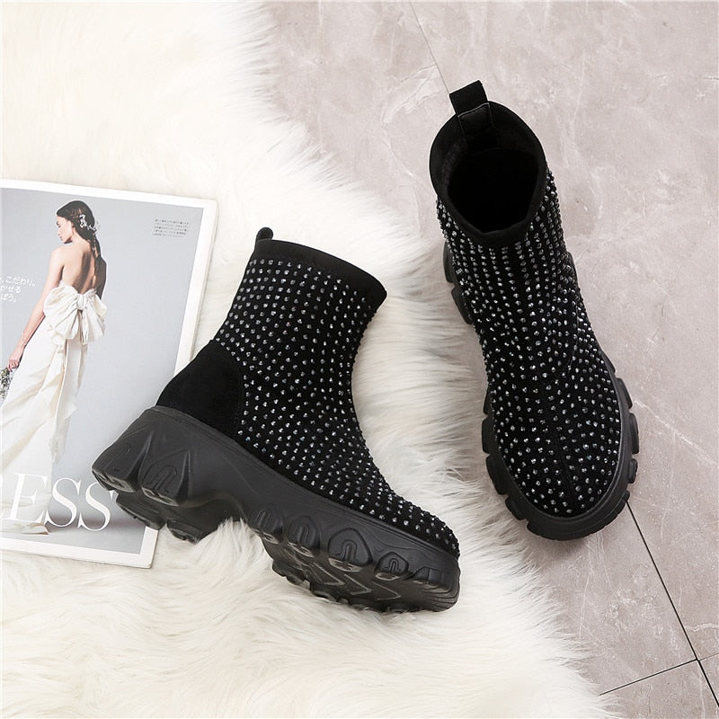 RASMEUP Women's Spring Boots Rhinestone Women Platform Boot 2020 Fashion Stretch Warm Thick Sole Ladies Chunky Shoes Big Size