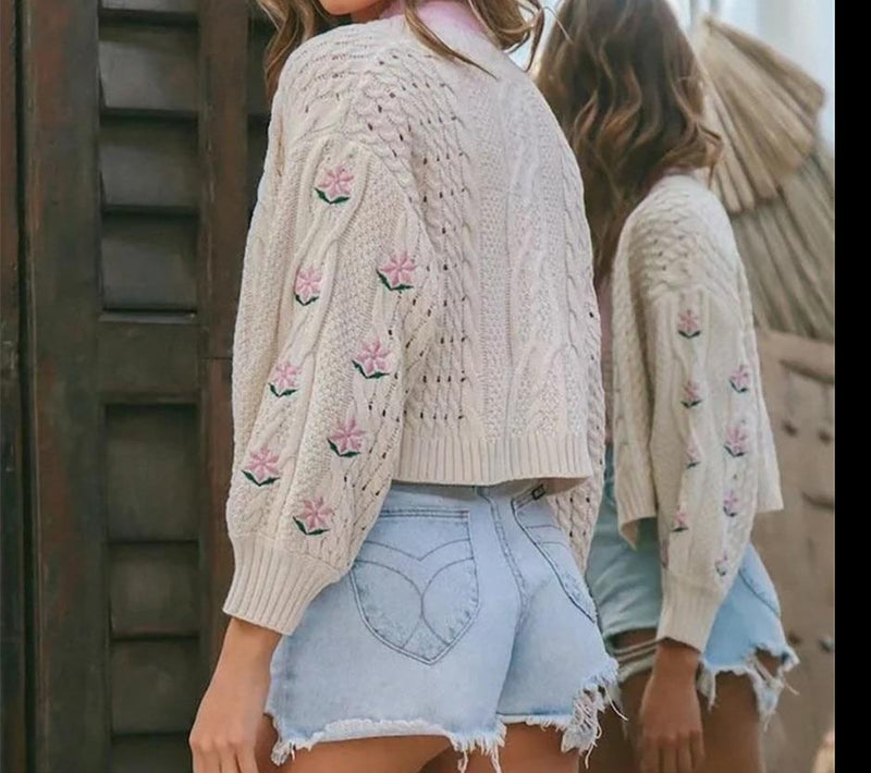 KLALIEN Autumn Fashion Casual Office Lady Floral  Knitted Women Sweater High Street Cute College Style Cardigan Female Sweater