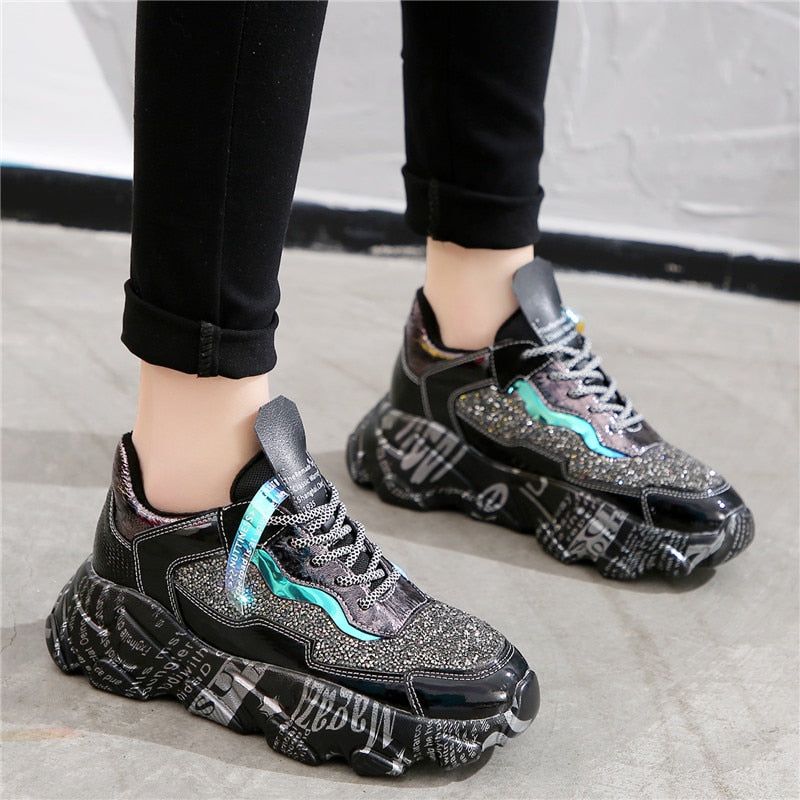 RASMEUP 2020 Fashion Winter Rhinestone Women Platform Sneakers Casual Shoes Breathable Soft Women Sneakers Ladies Chunky Shoes