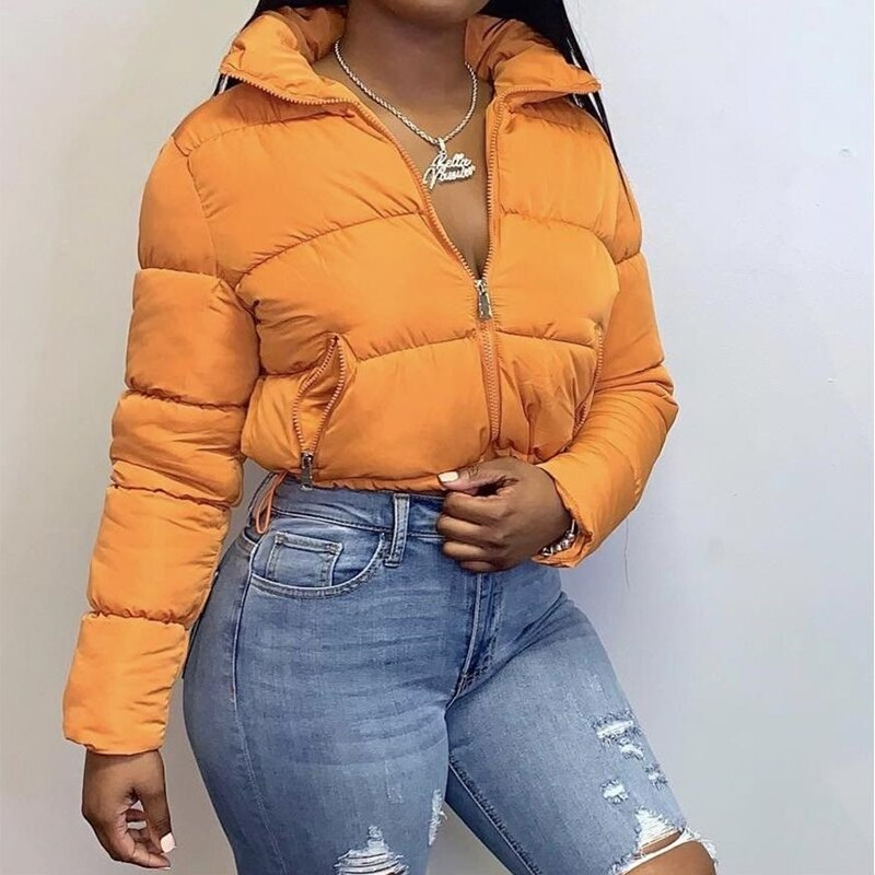 Waatfaak Short Padded Women Quilted Jacket Crop Winter Outerwear Y2K Parka Jacket Zipper Long Sleeve Cotton Down Jacket Puffer