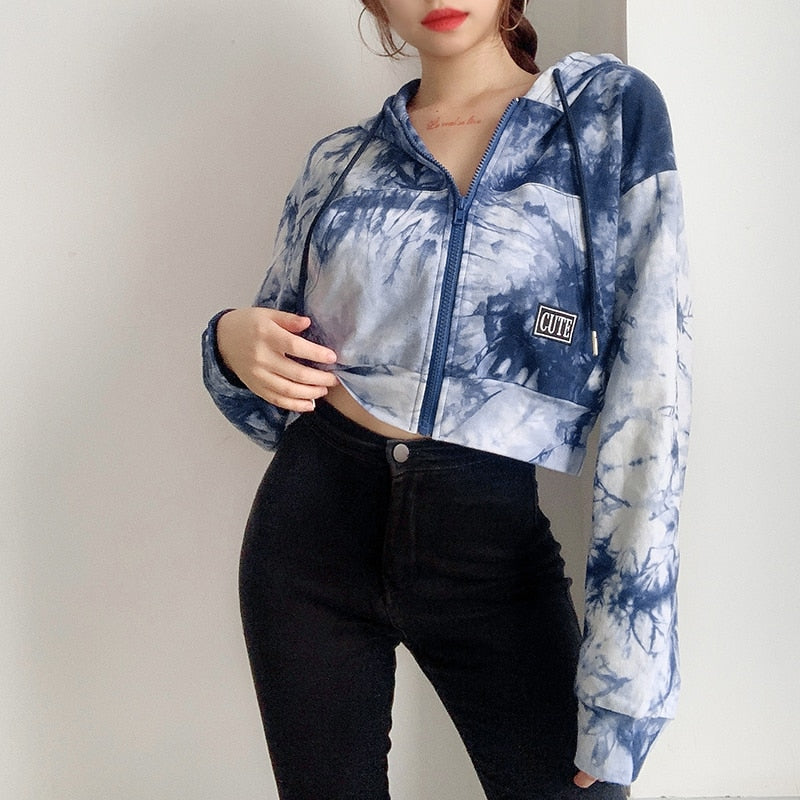 Waatfaak Blue Tie Dye Cropped Jacket Women Streetwear Hoodies Jacket Autumn Pocket Hippie Long Sleeve Coat Crop Top Y2K Grunge