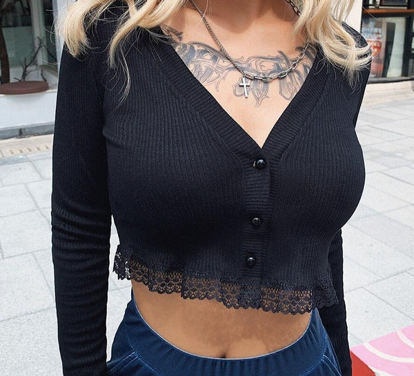 KLALIEN fall winter pure knitting lace Ruffle Long sleeve Single-breasted V-neck tops 2019 wild stretch Slim street tees mujer