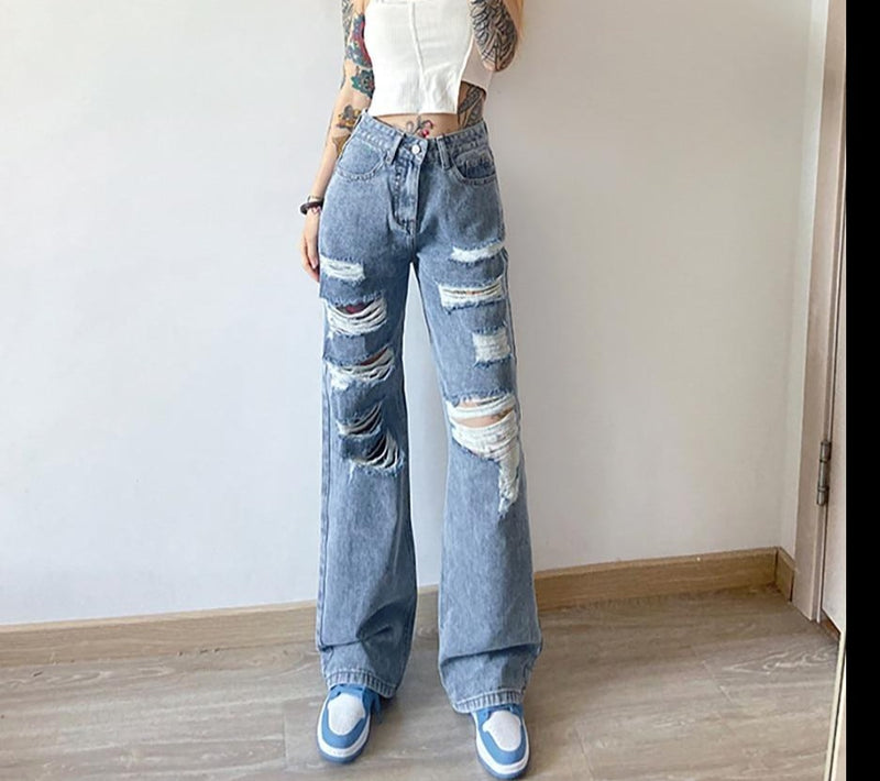 KLALIEN street casual loose hole high waist blue solid cotton jeans women office lady Wide Leg jeans autumn cloth-fitting pant