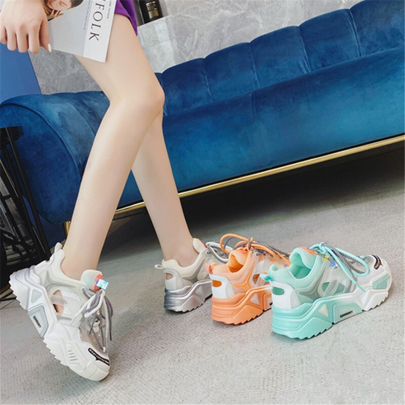 RASMEUP Genuine Leather Women's Chunky Sneakers 2020 Summer Fashion Women Comfortable Chunky Shoes Ladies Trainers Footwear