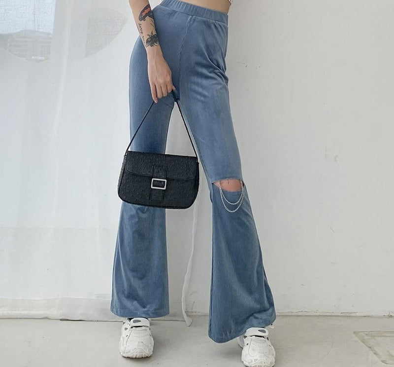 KLALIEN fashion high street casual hole female trousers new soft loose high waist solid Flare Pants disco hip hop pant ladies