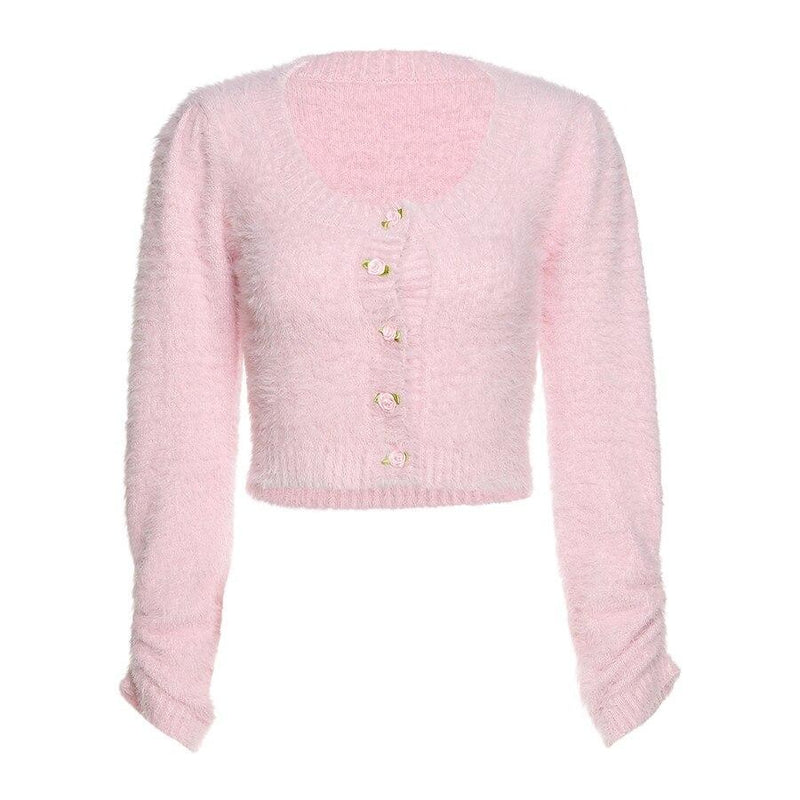 KLALIEN fashion elegant cute sweet pink sweater women autumn new office lady Cardigan Single Breasted casual slim female sweater (Pink One Size)
