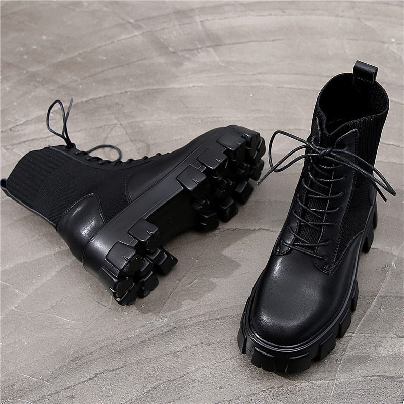 RASMEUP Genuine Leather Women's Platform Boots Luxury Designer Women Chunky Style Boots Fashion Ladies Shoes Lace-Up Footwear