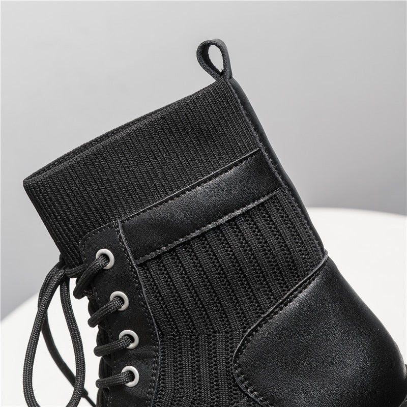 RASMEUP Genuine Leather Stretch Women's Lace up Boots Fashion Women Boots 2020 Autumn Ladies Platform Footwear Women Shoes