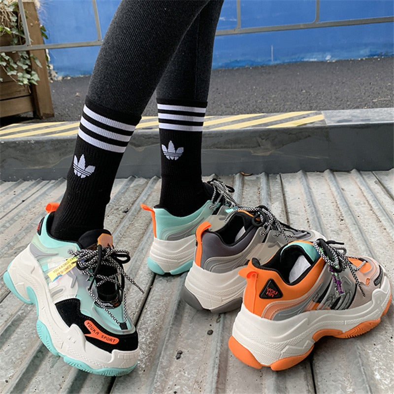 RASMEUP Hip Hop Style Women's Mesh Breathable Platform Sneakers 2020 Famale Chunky Shoes Ladies Trainers Footwear