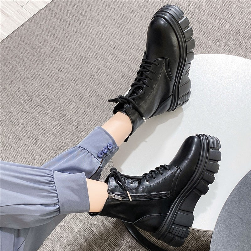 RASMEUP 2020 Genuine Leather Women's Platform Boots Designer Women Chunky Ankle Boots Zip Fashion Ladies Shoes Lace-Up Footwear