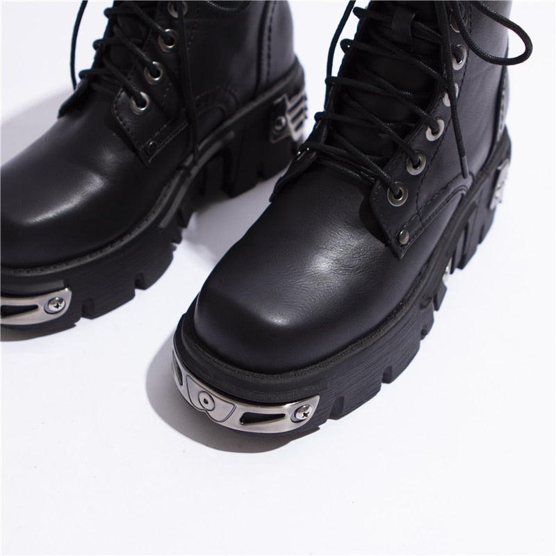 RASMEUP 6CM Punk Style Platform Women Ankle Boots 2019 Women's Motorcycle Boot Fashion Ladies Chunky Shoes Metal Decor Black