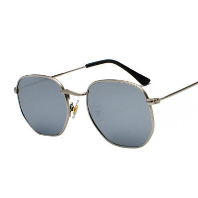 Men Sunglases Hexagon Sun glasses NEW Women Metal Frame Fishing Glasses Gold tea Eyewear lentes de sol hombre okulary UV400