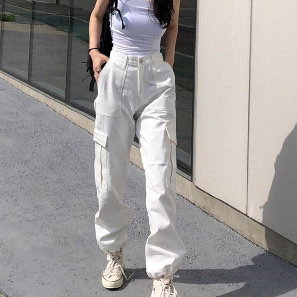 KLALIEN Hip Hop Streetwear Women High Waist Pockets Ribbon Trousers Female Loose long Cargo Pants 2019 New Fashion hot sale