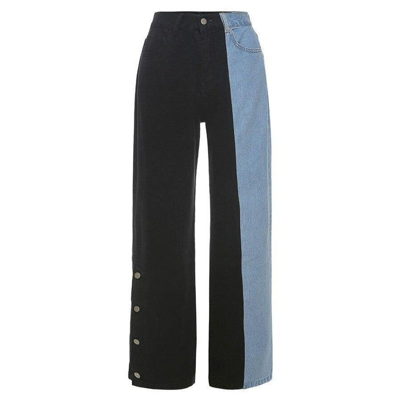 KLALIEN fashion high street loose black blue patchwork high waist zipper female jeans streetwear high quality Wide Leg Pants