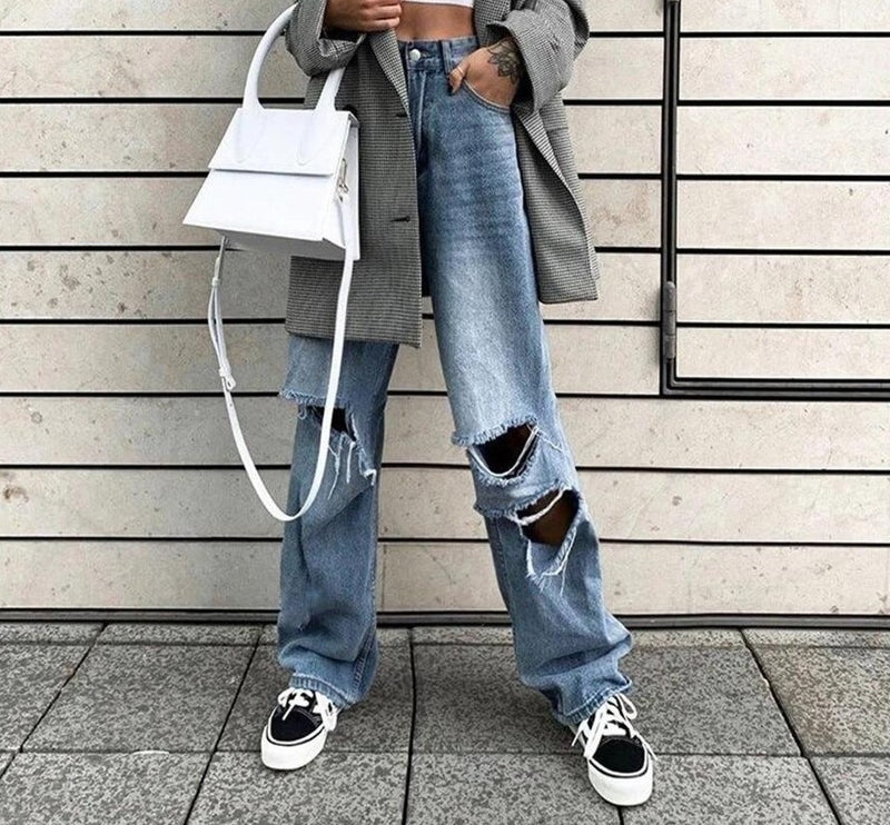 KLALIEN Spring Autumn Harajuku Hollow Denim pants Womens 2020 hot pure leisure loose Slim Flare Pants mujer Hip hop Denim pants