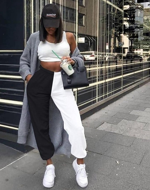 KLILAEN solid full length harem pant high waist elastic pants sweatpants trousers 2019 autumn women fitness casual Streetwear