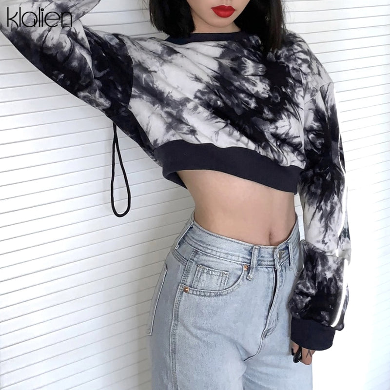 KLALIEN Autumn Fashion Tie Dye Cotton Women Hoodie Casual Street Female Sweatershirts Reflective Pullovers Hoodie Lady 2020 New