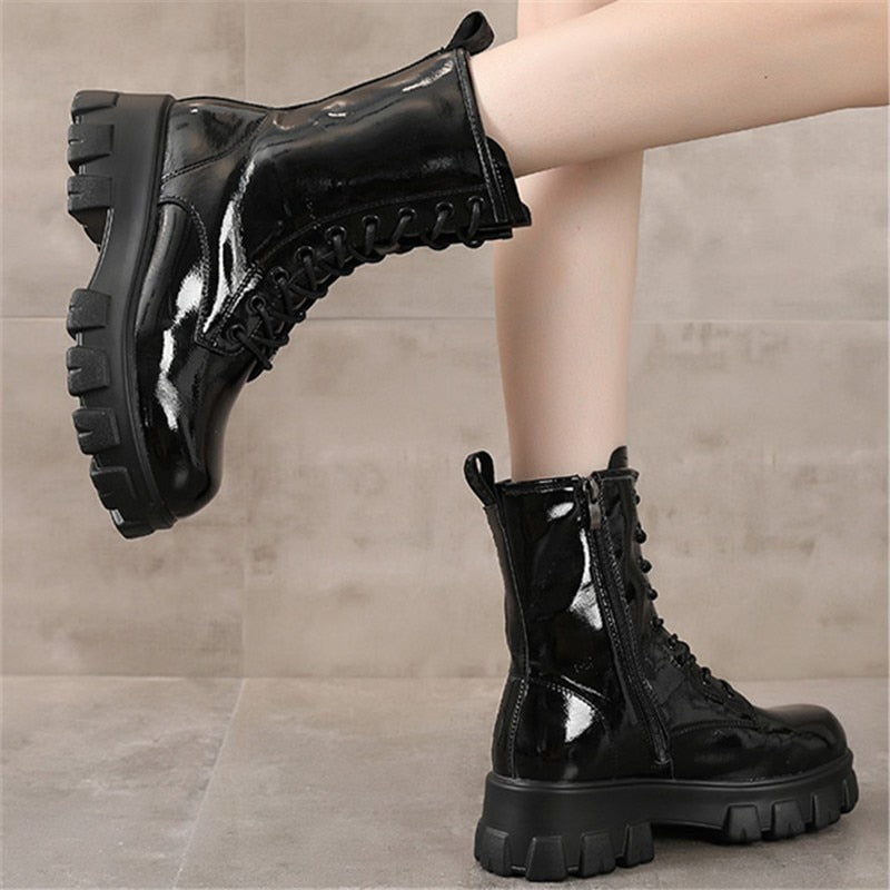 RASMEUP Genuine Leather Women's Platform Boots Luxury Designer Women Chunky Long Boots Fashion Ladies Shoes Side Chain Footwear