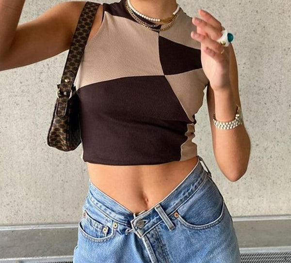 Nadafair Tie Dye Tops Women Crop Y2K Summer Sleeveless Ribbed Short Vest Streetwear 2021 Off Shoulder Tank Tops