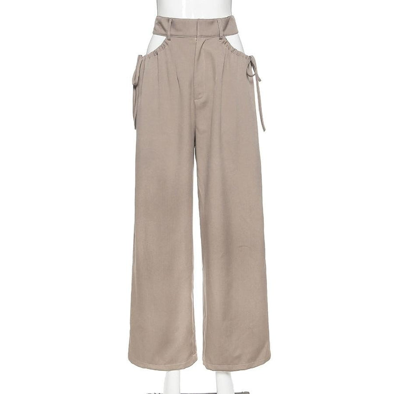 KLALIEN high street casual female wide leg pant sexy hollow out bandage zipper high waiste solid wild loose trousers spring new