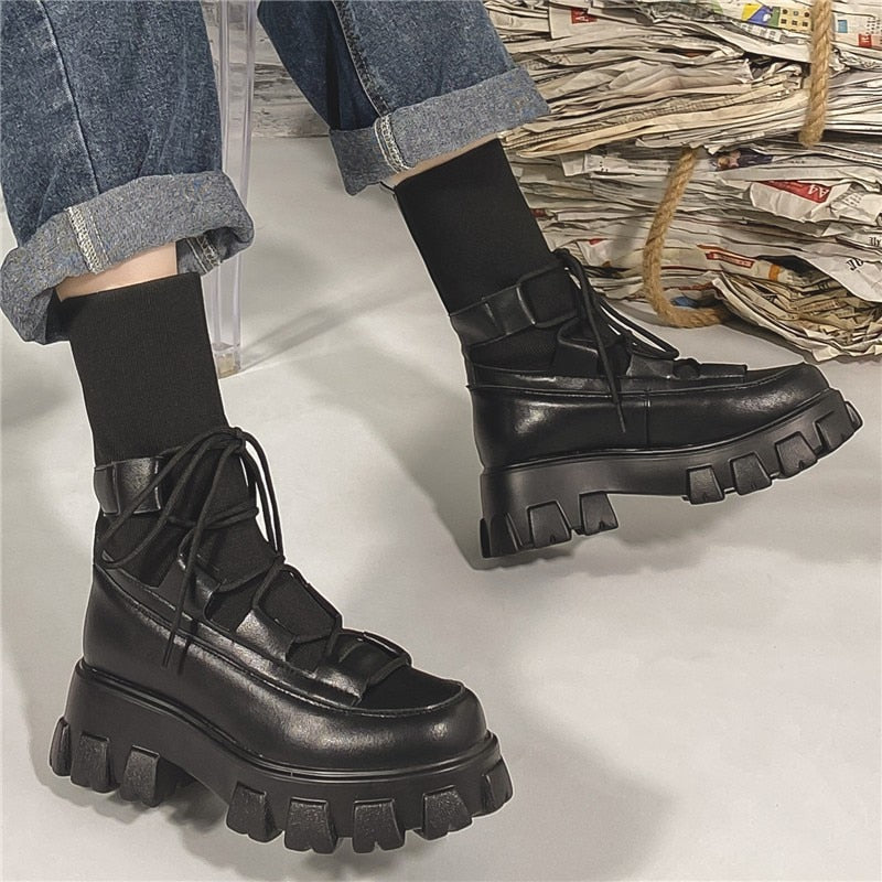 RASMEUP Stretch Women's Lace up Boots Genuine Leather Fashion Women Long Boots 2020 Autumn Ladies Platform plus size 44 Footwear