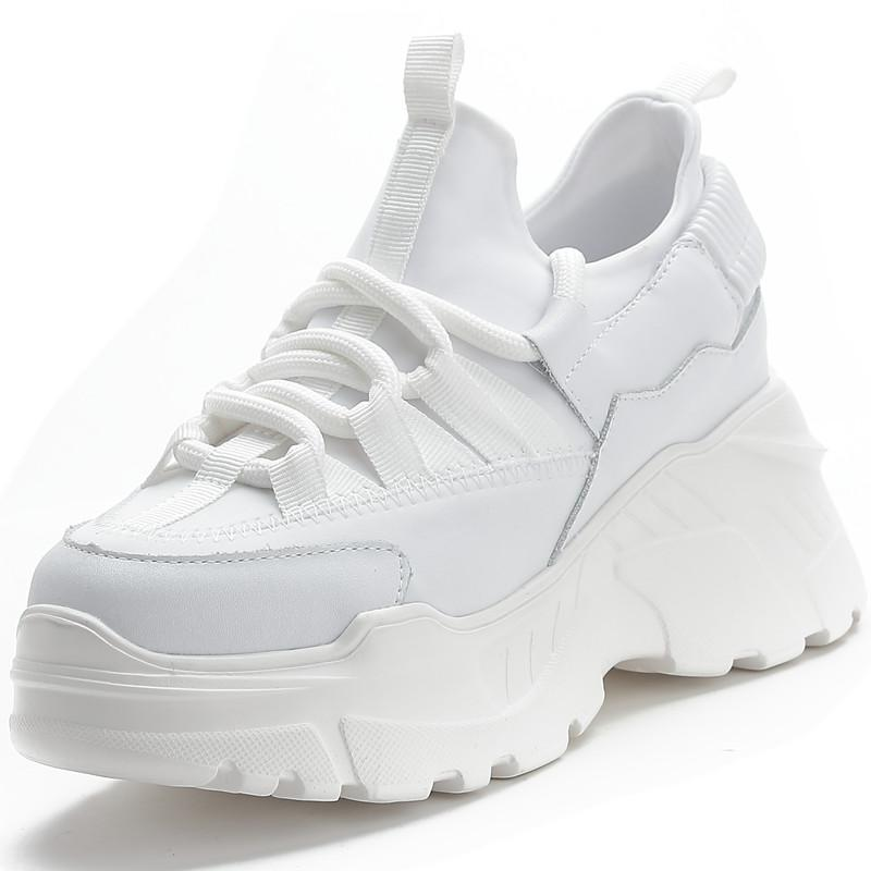 RASMEUP Genuine Leather Women's Chunky Sneakers 2020 Fashion Women Breathable Platform Shoes Ladies Trainers White Footwear