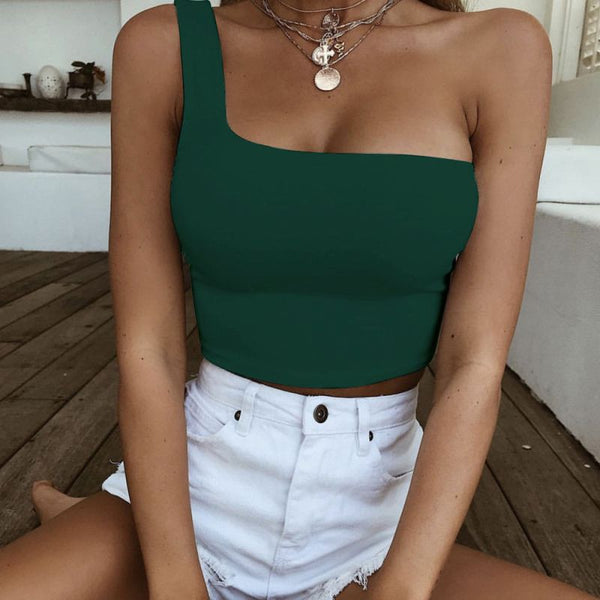 Women Lady Female One Shoulder Crop Tops Sleeveless T-Shirt Tank Tops Summer Beach Vest Bare Midriff Summer Fashion Clothes
