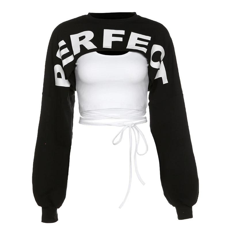 KLALIEN high street casual black white patchwork letter Sweatshirts women fashion long sleeve short female hoodie 2020 autumn