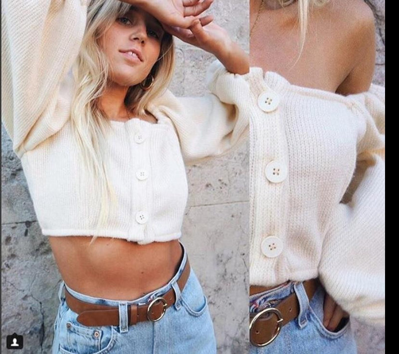 KLALIEN Button Up Off Shoulder Slash neck Three Quarter Sleeve Casual Solid Color Crop Tops 2019 New Womens Fashion Hot Sale