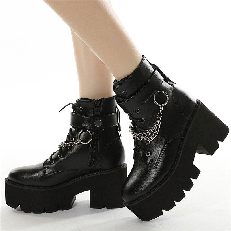 RASMEUP 2020 Women Winter Warm Genuine Leather Women's Platform Chunky Shoes Zipper Casual  Lace up Comfortable Fashion Boots