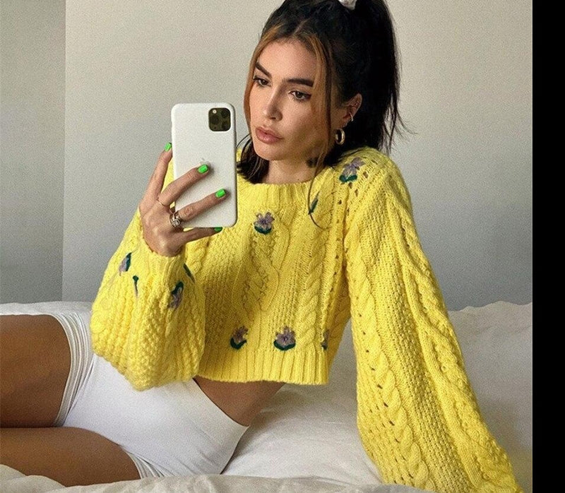 KLALIEN Autumn Fashion Floral Knitted Women Sweater High Street Casual Office Lady Sweet Cute Flowers Elegant Pullover Sweater