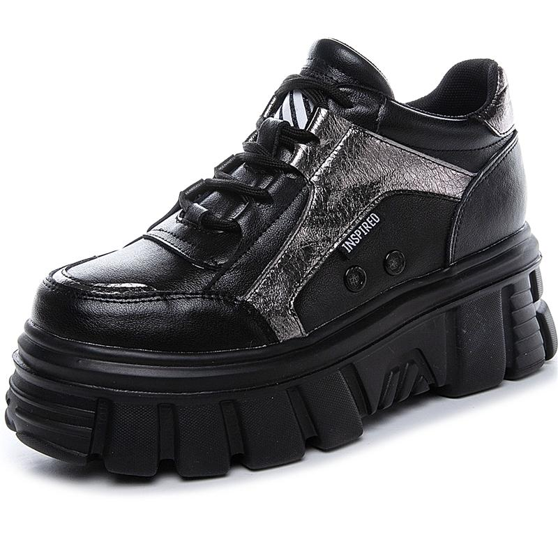 RASMEUP Genuine Leather Women's Platform Sneakers 2020 Winter Fashion Style Warm Women Trainers Ladies Chunky Shoes Footwear