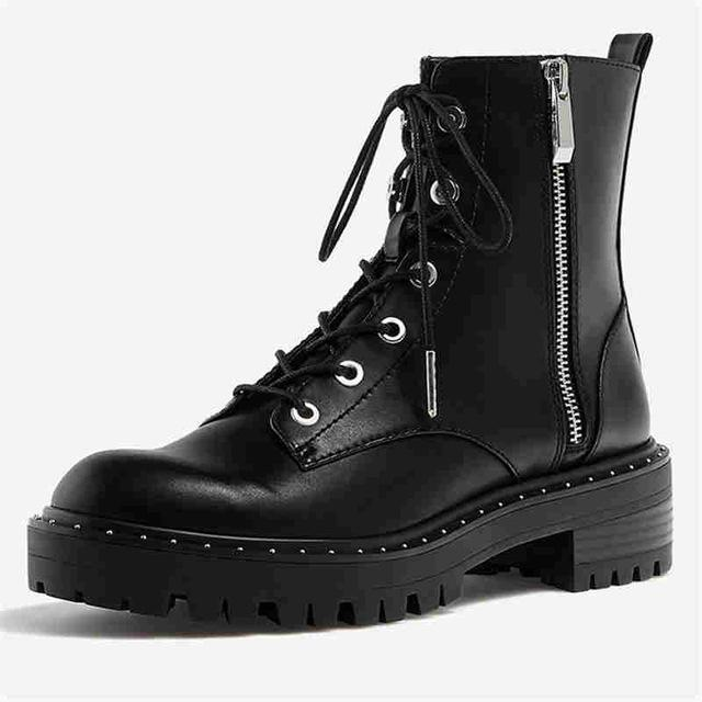 RASMEUP Leather Women's  Boots  2020 Fashion Rivets Ankle Boots For Women Winter Warm Short Plush Platform Ladies Shoes