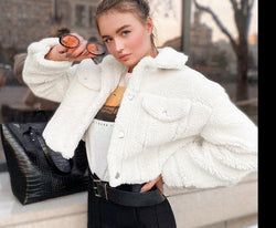 Waatfaak Faux Fur Lambswool Crop Jacket Winter White Pocket Turn-down Collar Casual Coat Women Single Breasted Ladies Jacket Top