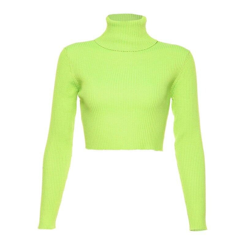 KLALIEN full sleeve turtleneck slim Knitted femme tops Pullovers 2019 autumn new women fashion High street elastic Basic sweater (Green One Size)