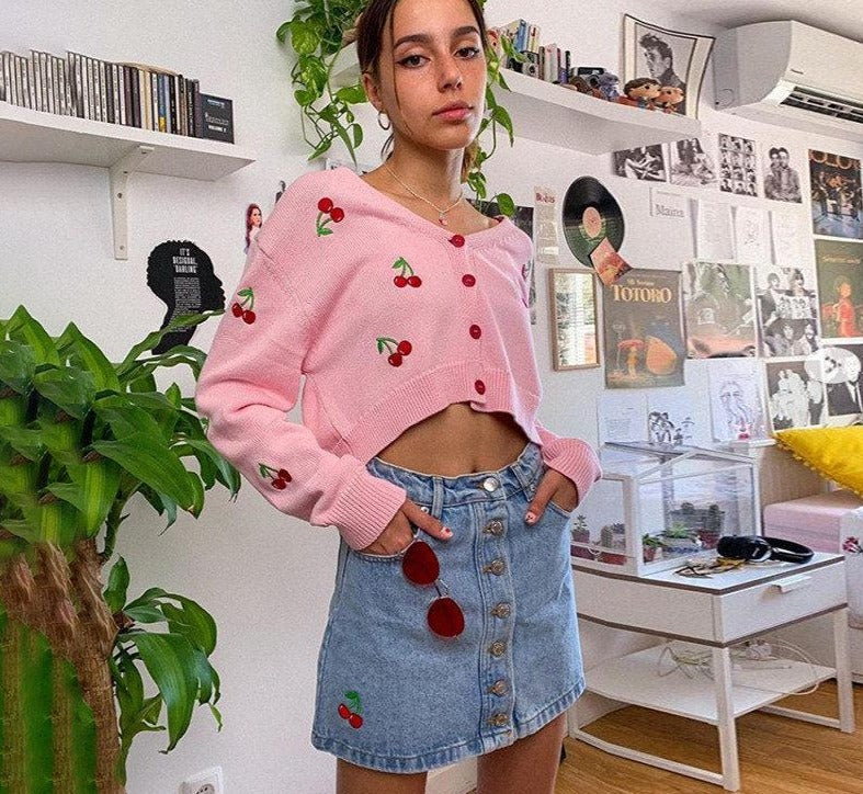 KLALIEN cute sweet print Cardigans Single Breasted female sweater autumn simple college style knitted white pink sweater women