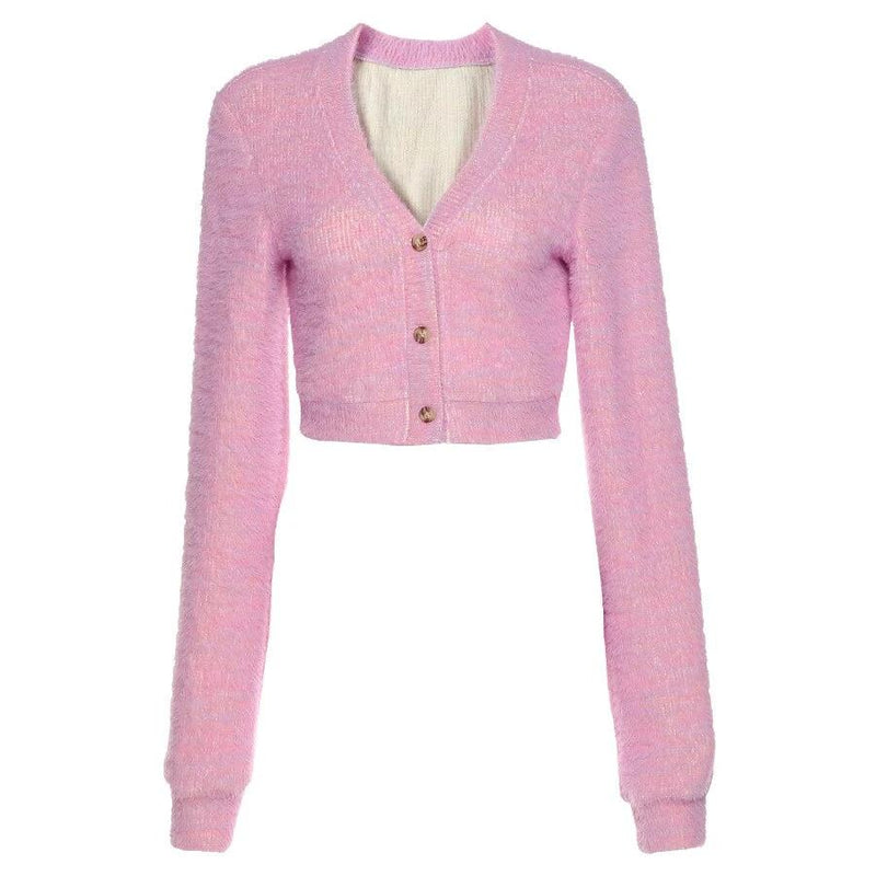 KLALIEN Autumn Women Cute Sweet Pink Slim Sweater Ladies 2020 New Casual Single Breasted Cardigan Female Sweater College Style