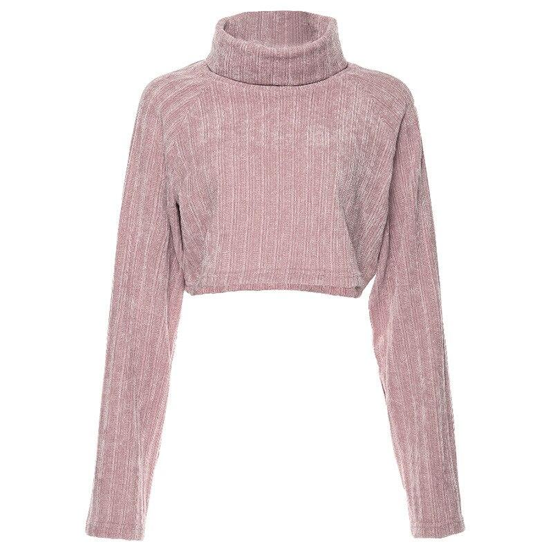 KLALIENT Autumn Winter Solid Pullover Short Thick Sweater 2020 Women fashion Flare Long Sleeve Turtleneck Top Casual Streetwear
