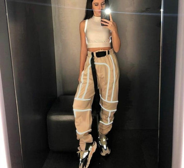 KLALIEN 2019 New women fashion street Reflective patchwork cargo pants zipper wild Belt decoration pockets knitted trousers