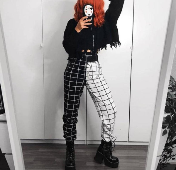 KLALIEN black white Plaid patchwork Harem pants women 2020 New fashion casual Loose Slim pants harajuk Streetwear Elastic pants