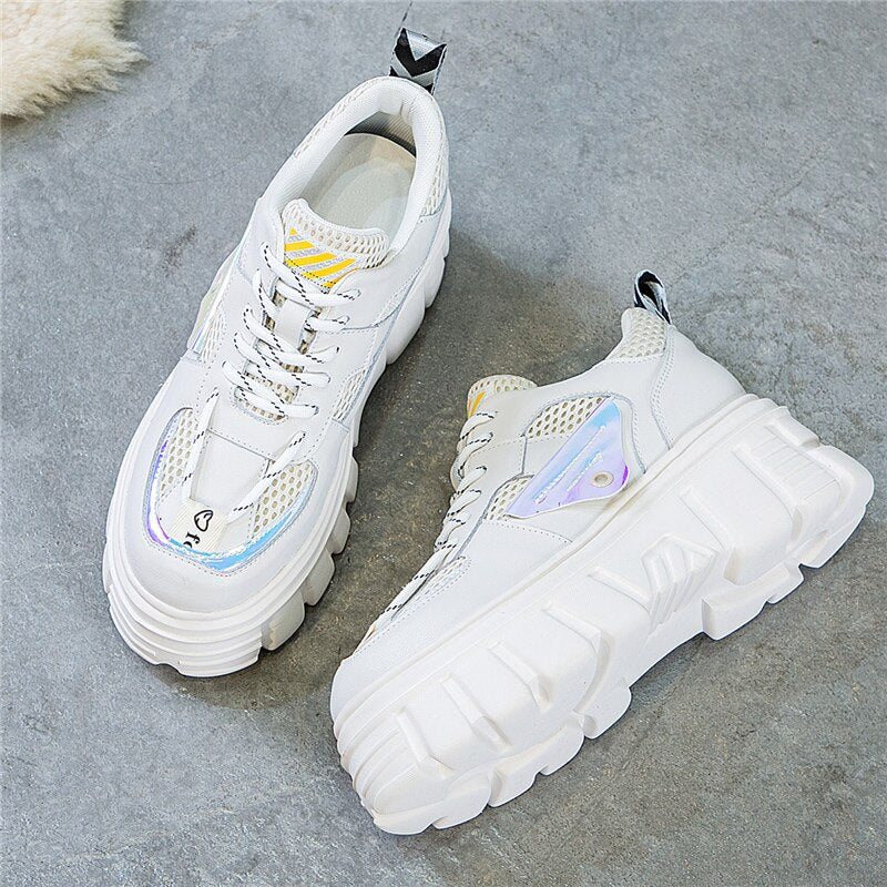 RASMEUP Genuine Leather 2020 Fashion Style Spring Women's Platform Sneakers Women Chunky Shoes Trainers Lady Plus Sizes Footwear