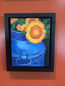"""Sunflowers in Blue Milk Can,"" original framed acrylic painting"