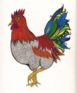 Zen Doodle Chicken and Rooster Cards - Set of 4 Cards